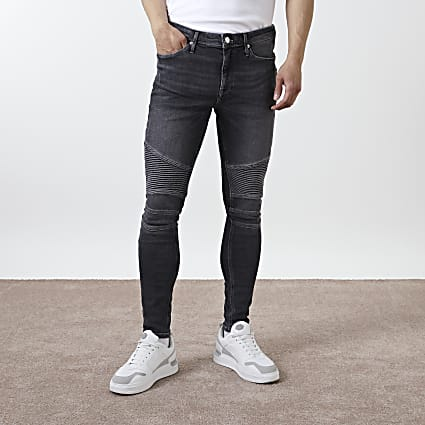 Black biker spray on skinny fit jeans