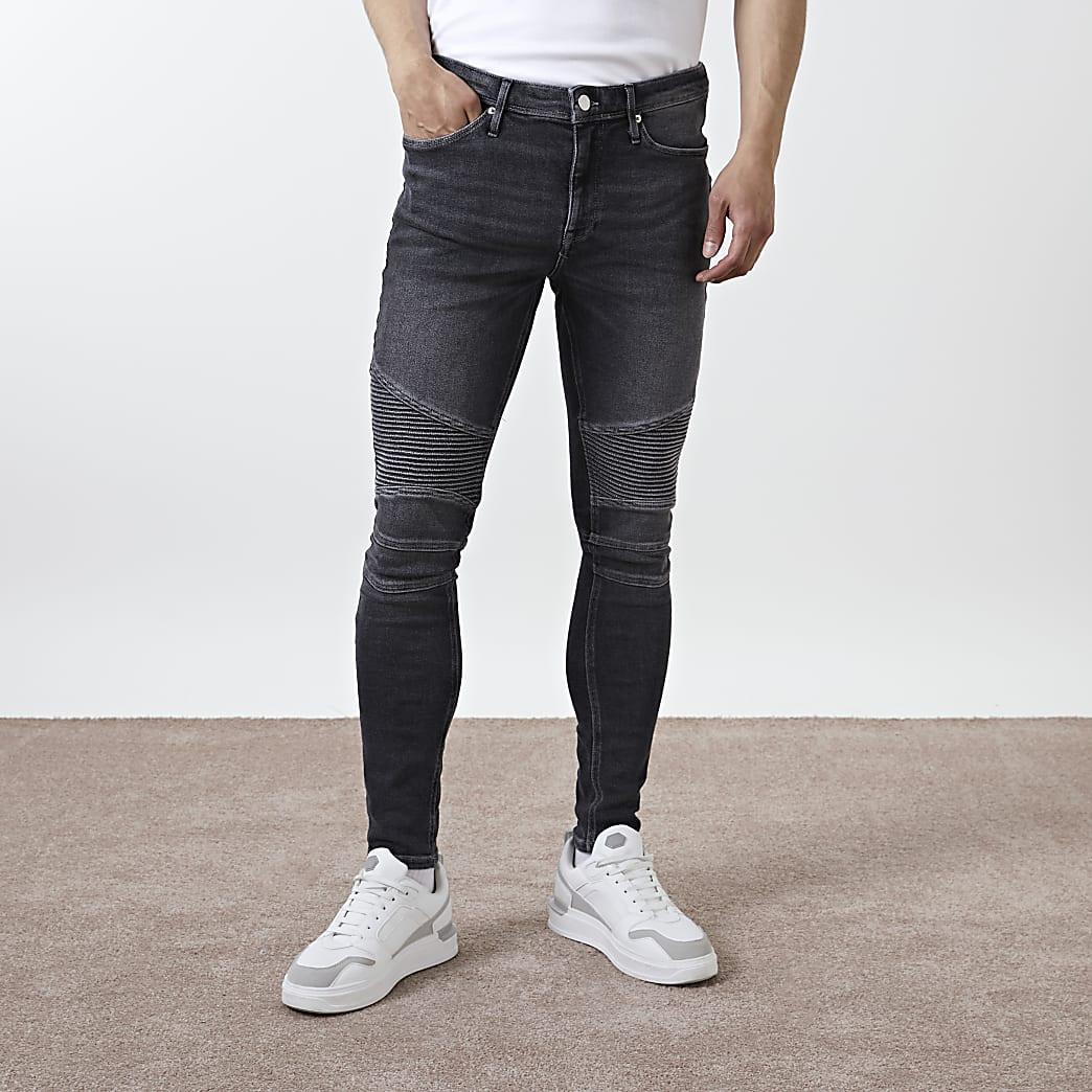 Black biker spray on skinny fit jeans