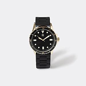 Armbanduhr in Gold mit Kunststoffarmband in Schwarz