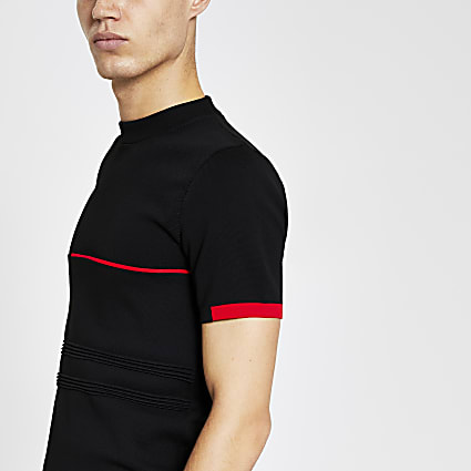 Black blocked knitted muscle fit t-shirt