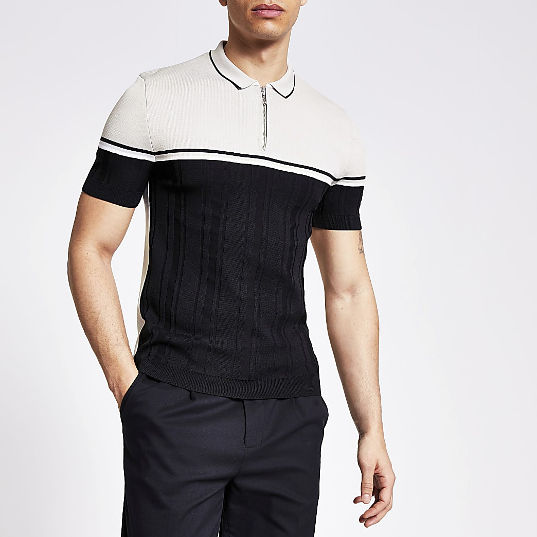 Black blocked muscle fit knitted polo top