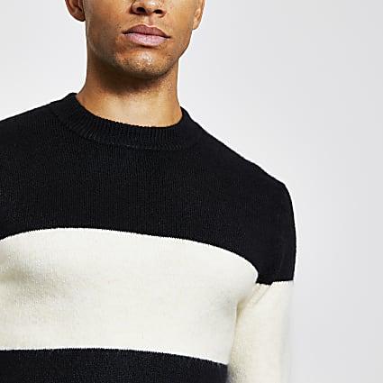 Black blocked slim fit knitted jumper
