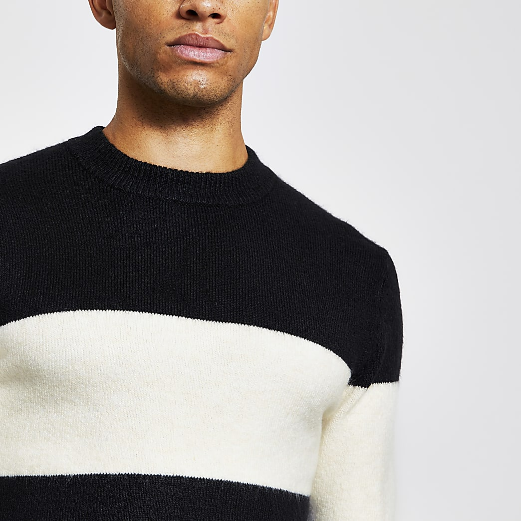 Black blocked slim fit knitted jumper