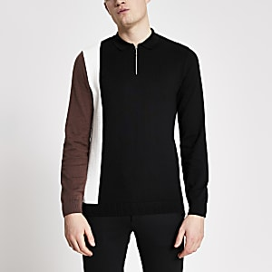 Black blocked slim fit knitted polo shirt