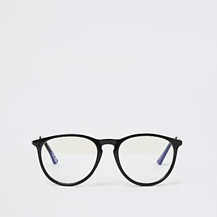 Black blue light lens preppy frame glasses