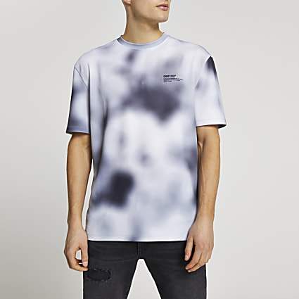 Black blur print short sleeve t-shirt