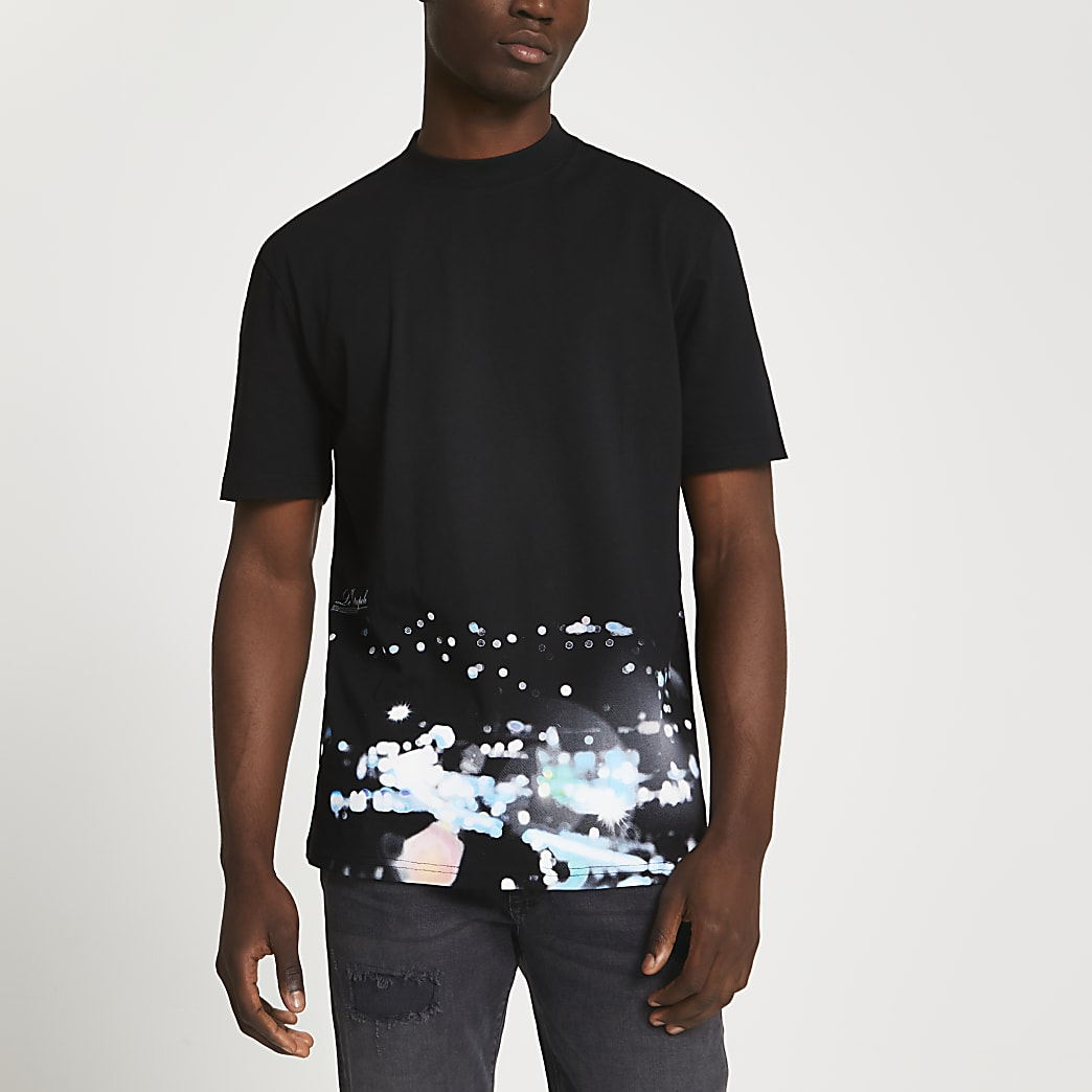 Black blurred lights short sleeve t-shirt
