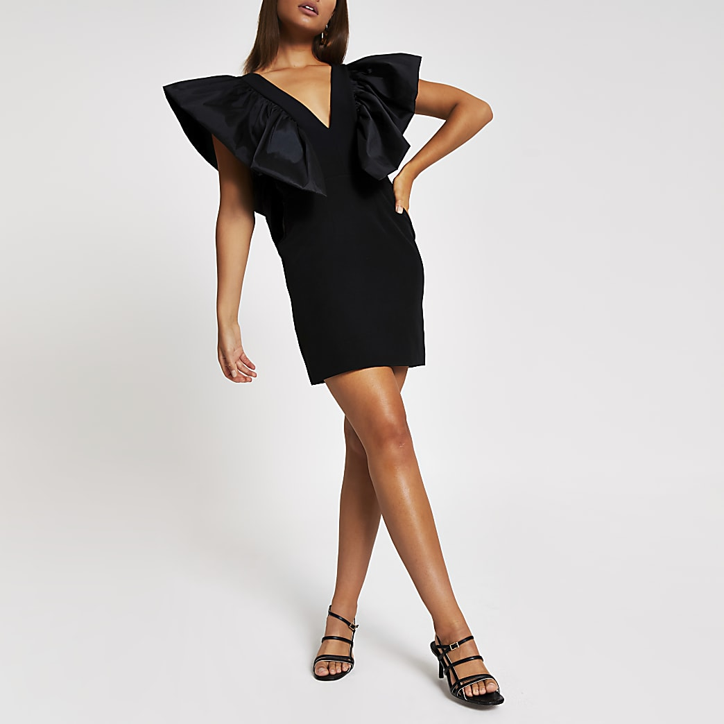 Black bodycon puff sleeve mini dress