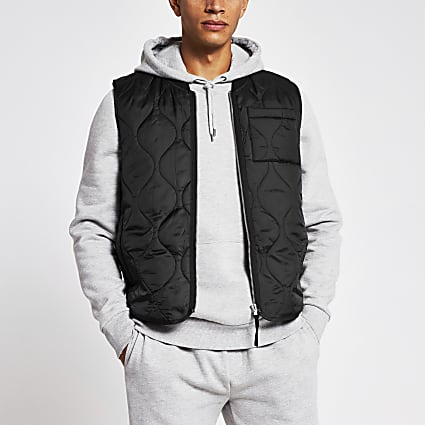 Black bomber neck quilted gilet