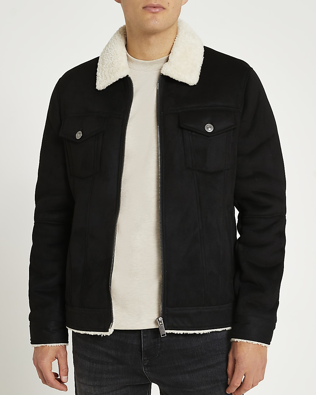 Black borg collar suedette jacket