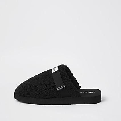 Black borg mule slippers