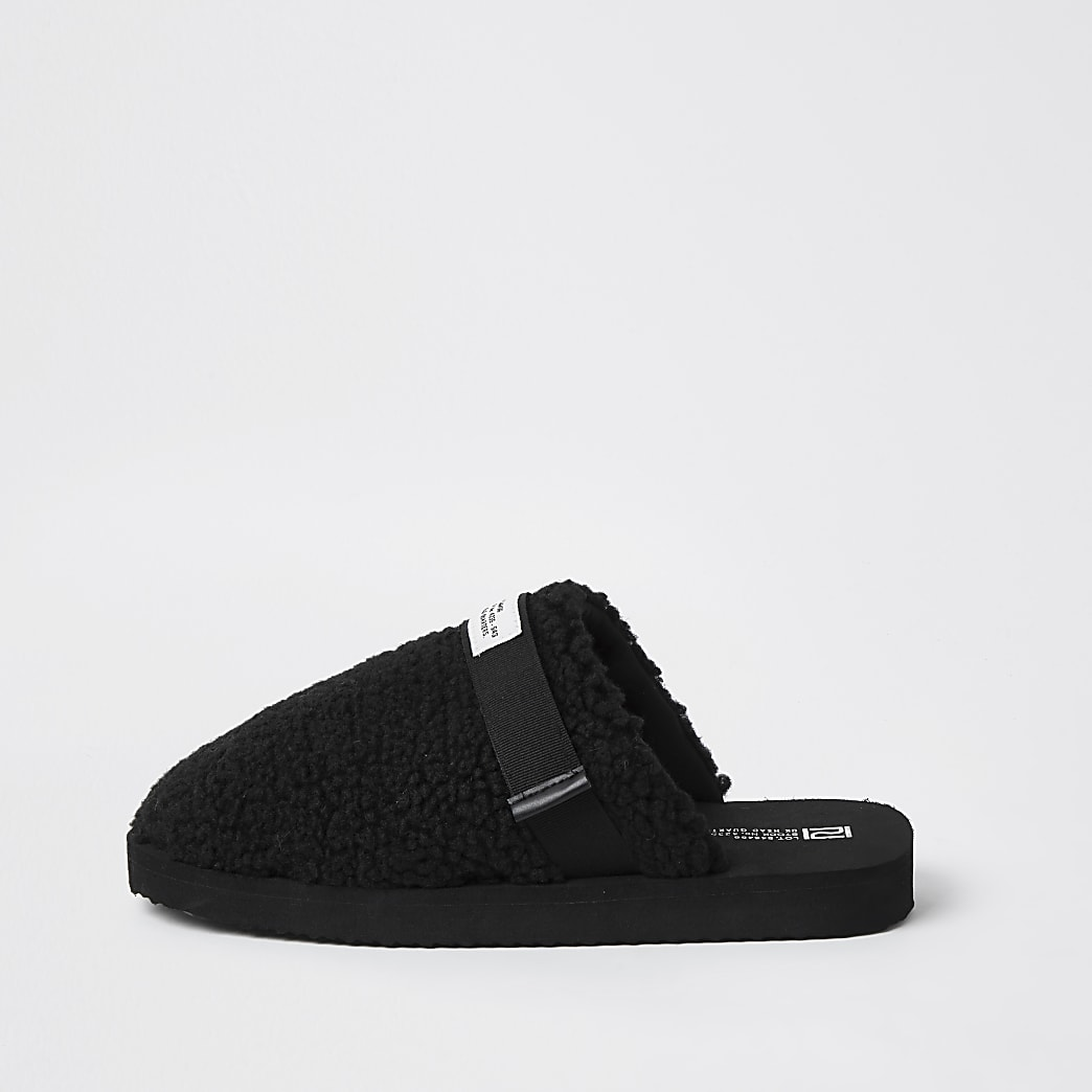 Black borg mule slippers