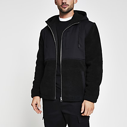 Black borg nylon hooded jacket