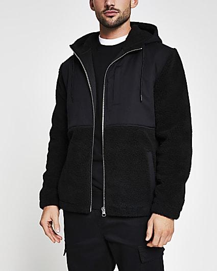 Black borg nylon hooded jacket