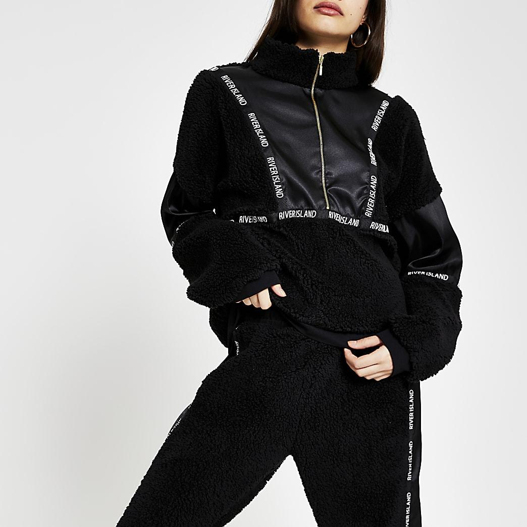 Black borg satin RI branded sweatshirt