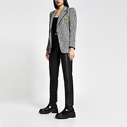 Black boucle badged blazer