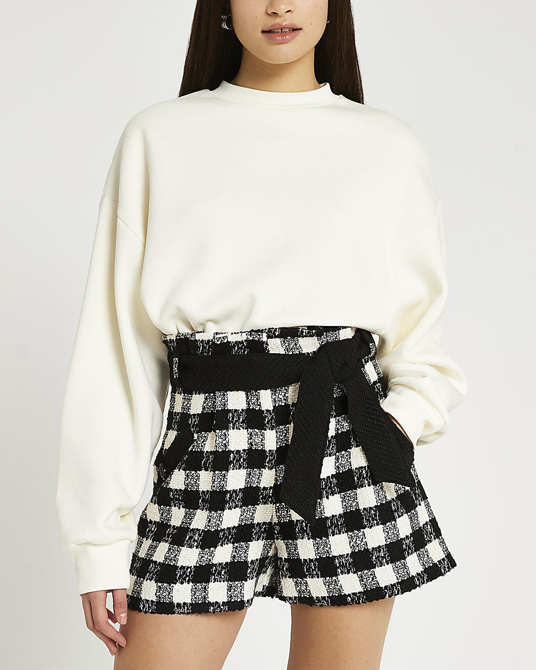 Black boucle belted shorts