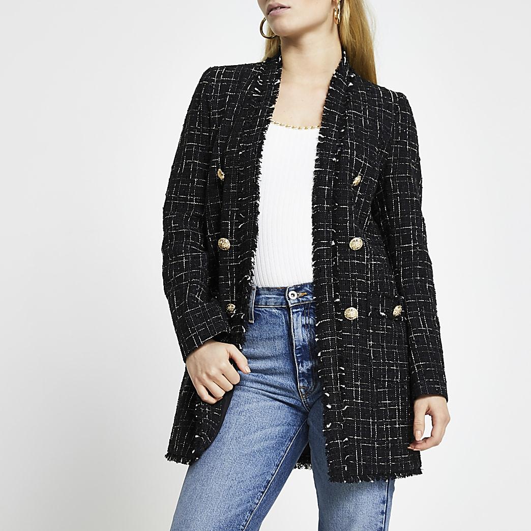 Black boucle button front jacket