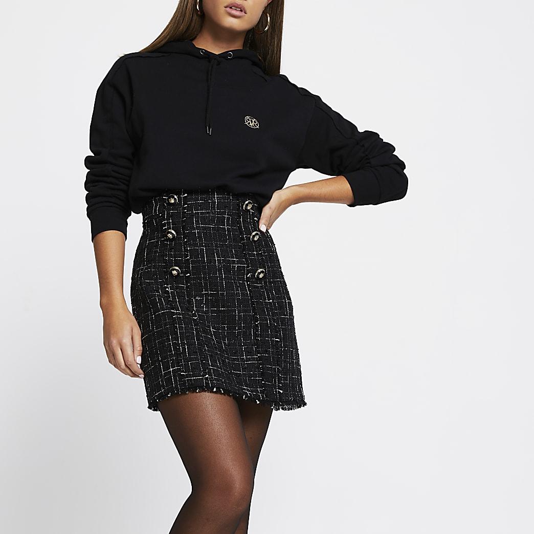 Black boucle button mini skirt