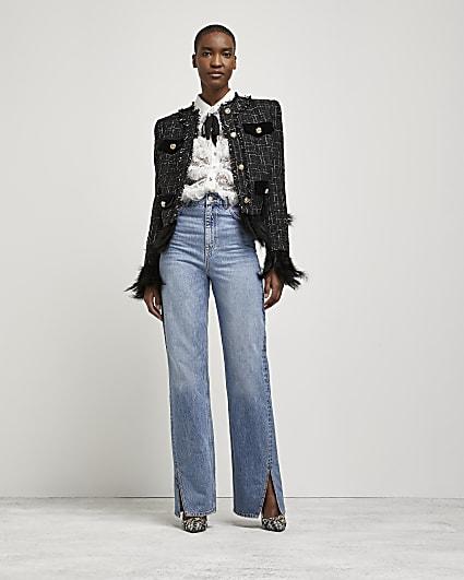 Black boucle exaggerated shoulder jacket