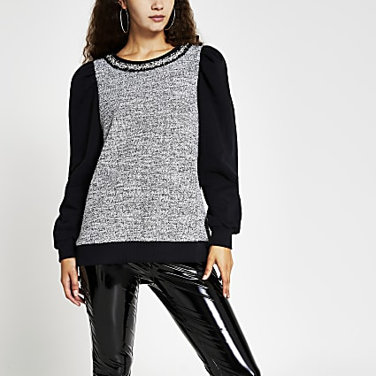 Black Boucle Sweatshirt