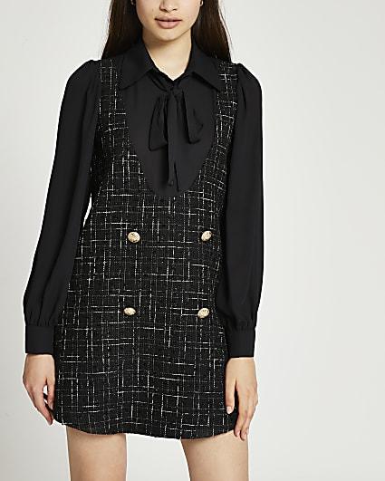 Black boucle tie neck mini dress