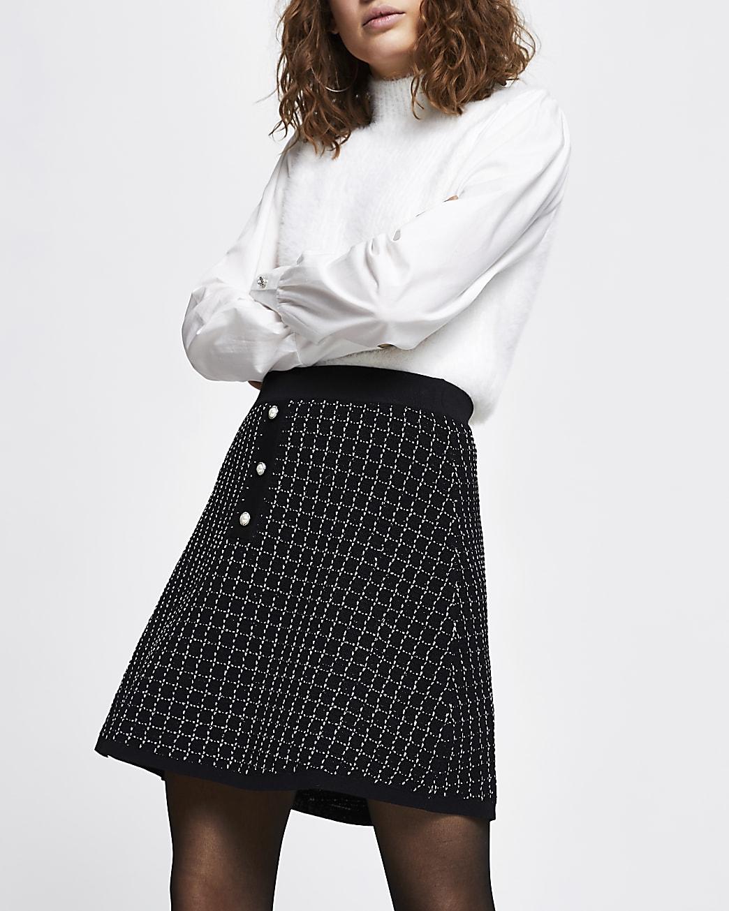 Black boucle tweed mini skirt