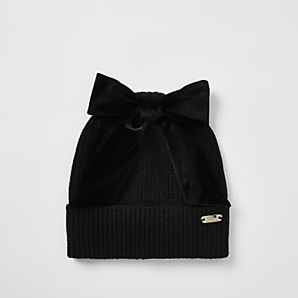 Black bow beanie hat