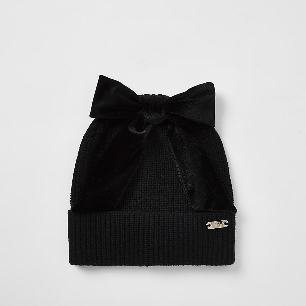 Black bow beanie hat