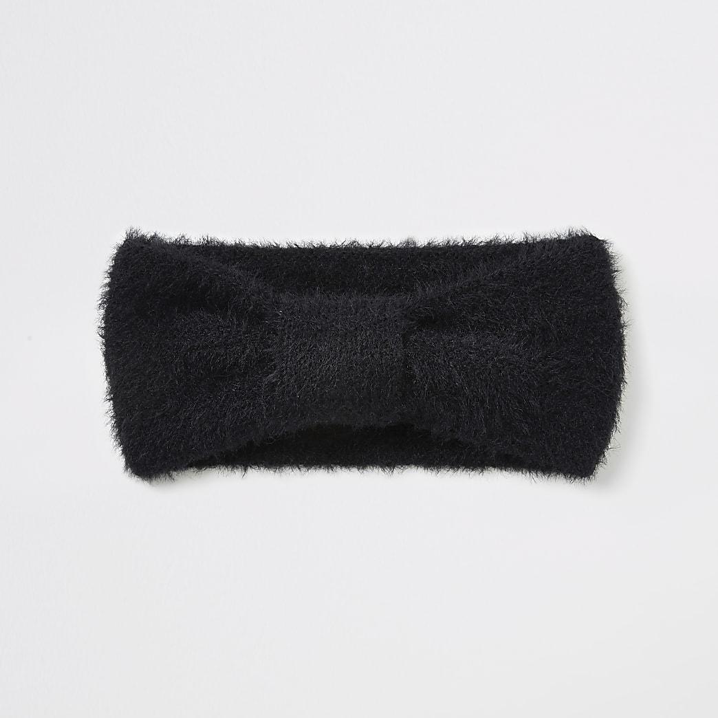 Flauschiges Strick-Haarband in Schwarz mit Schleife vorne