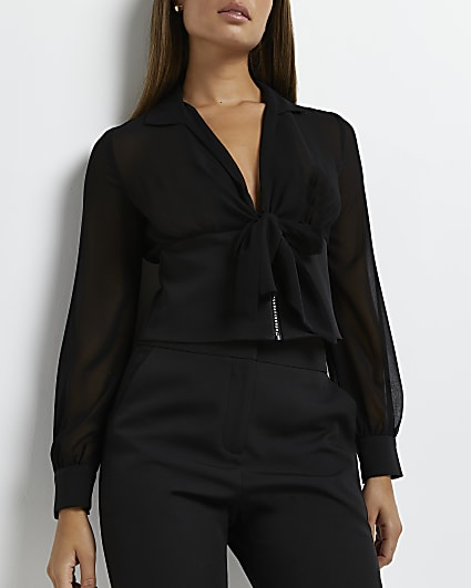 Black bow neck cropped blouse