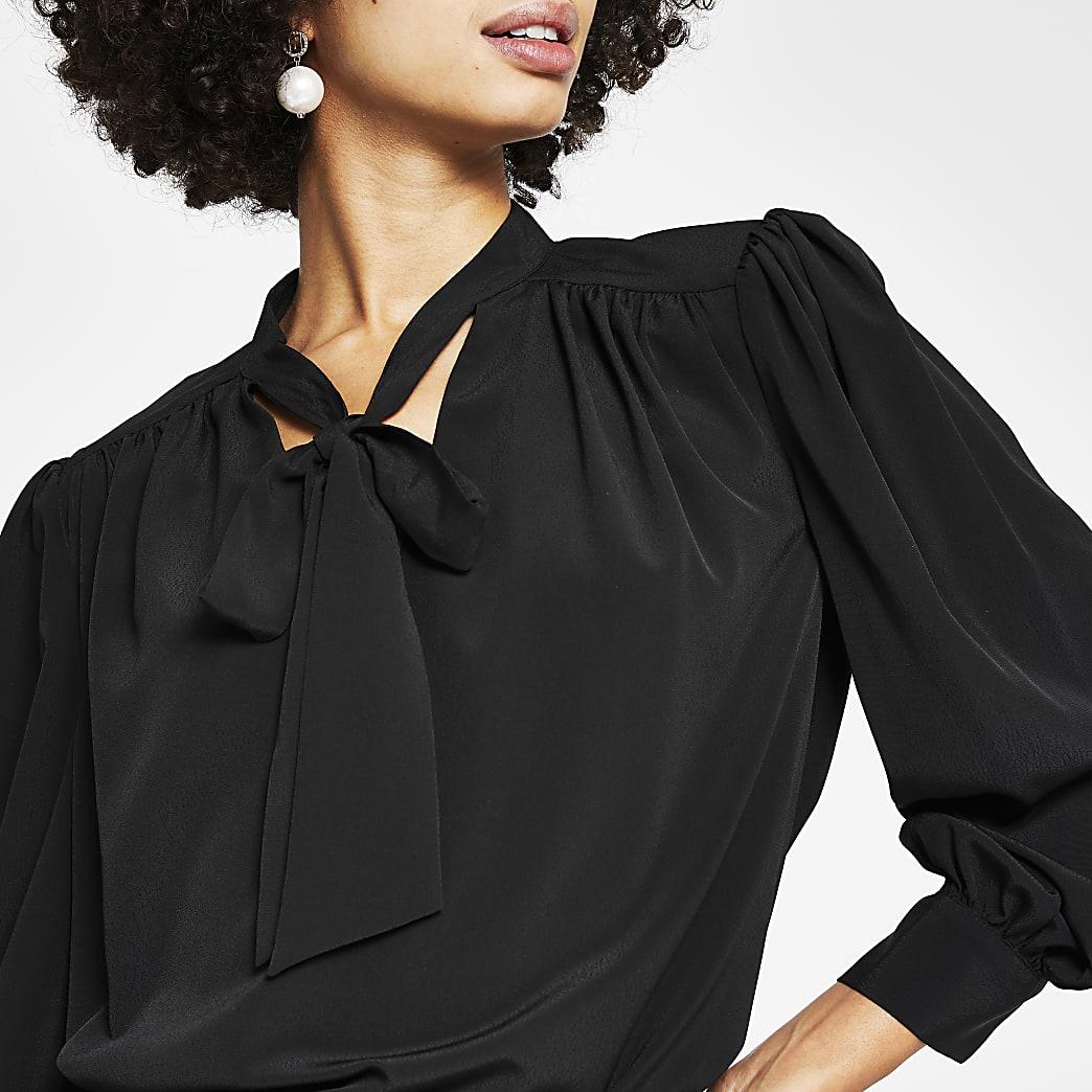 Black bow neck detail blouse top