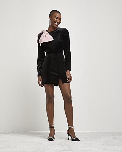 Black bow shoulder mini dress