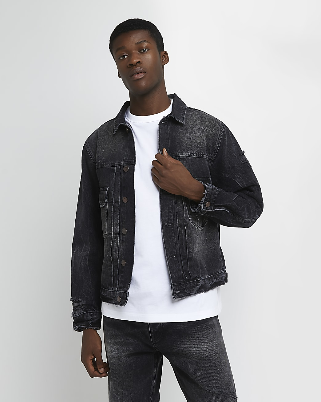 Black boxy fit denim jacket