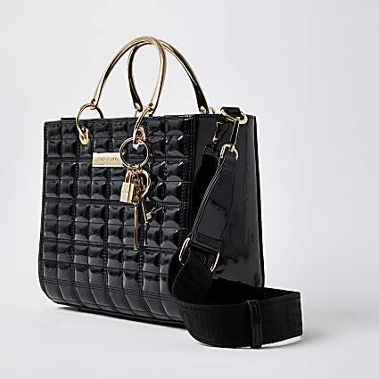 Black boxy quilted tote handbag