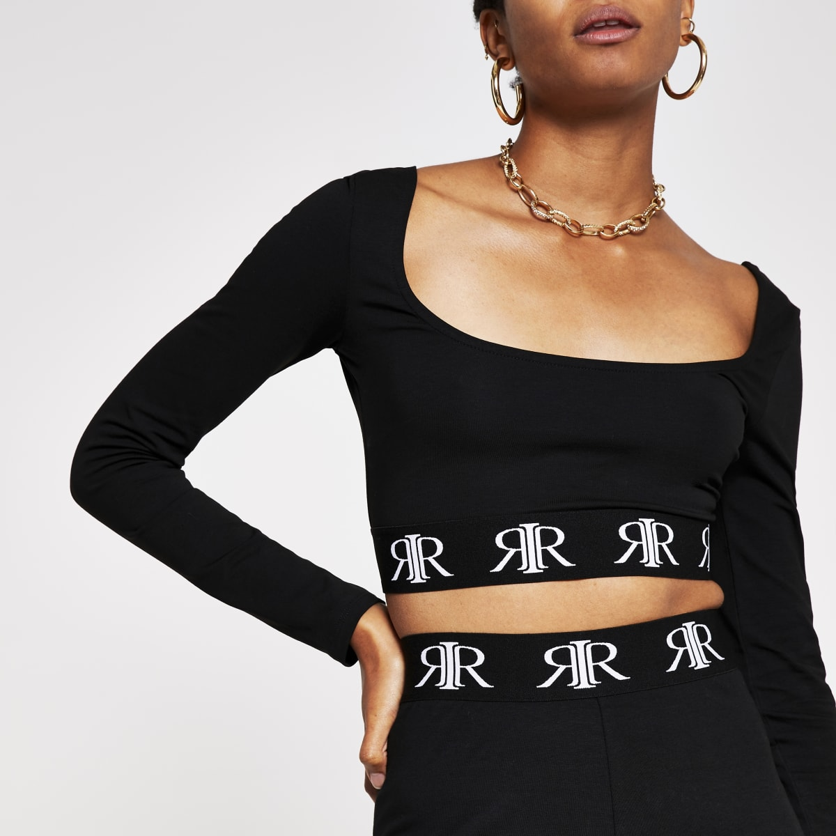 Black branded tape long sleeve crop top