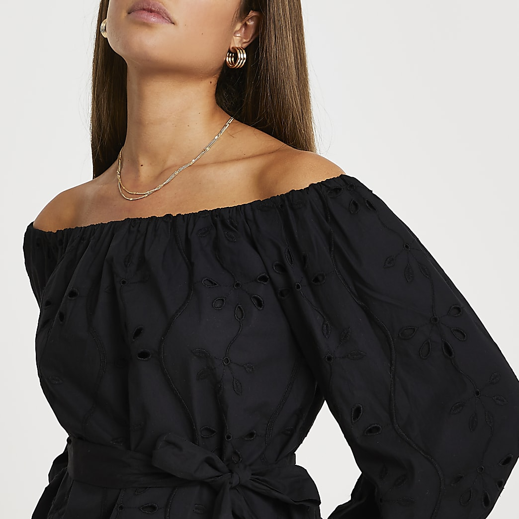Black broderie bardot top