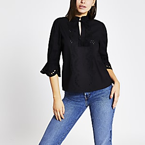 Black broderie cut out tie front top