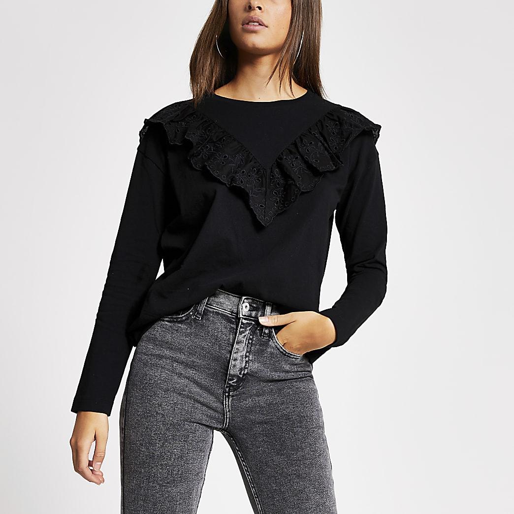 T-shirt noir à manches longues avec volant en broderie anglaise