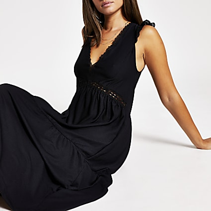 Black broderie frill midi dress