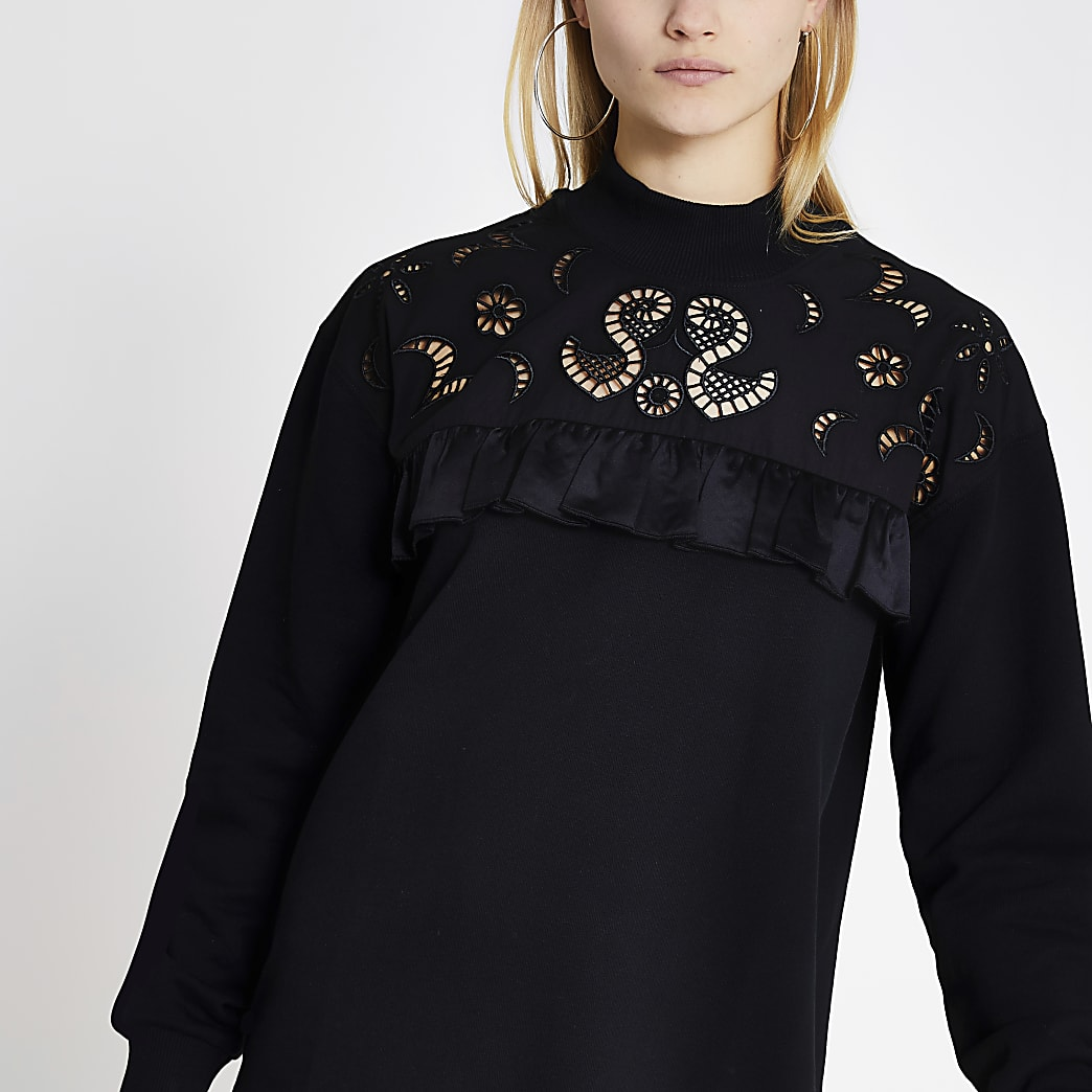 Black broderie frill sweater dress
