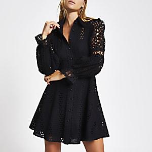Zwarte broderie mini-jurk met lange mouwen