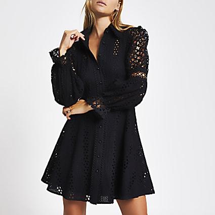 Black broderie long sleeve mini dress