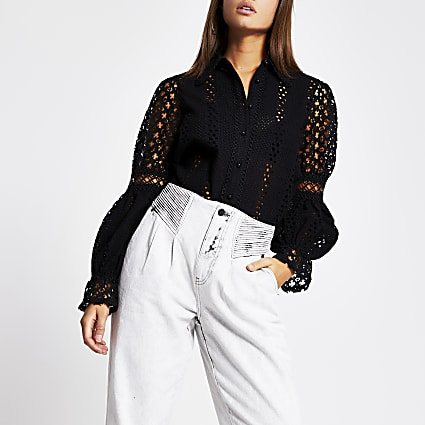Black broderie long sleeve shirt
