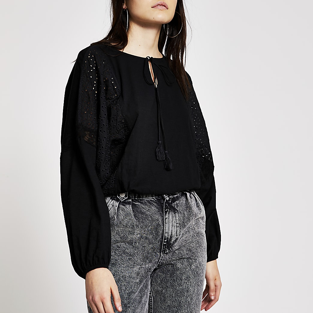 Black broderie panel batwing sleeve blouse