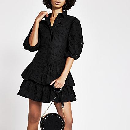 Black broderie puff sleeve shirt dress