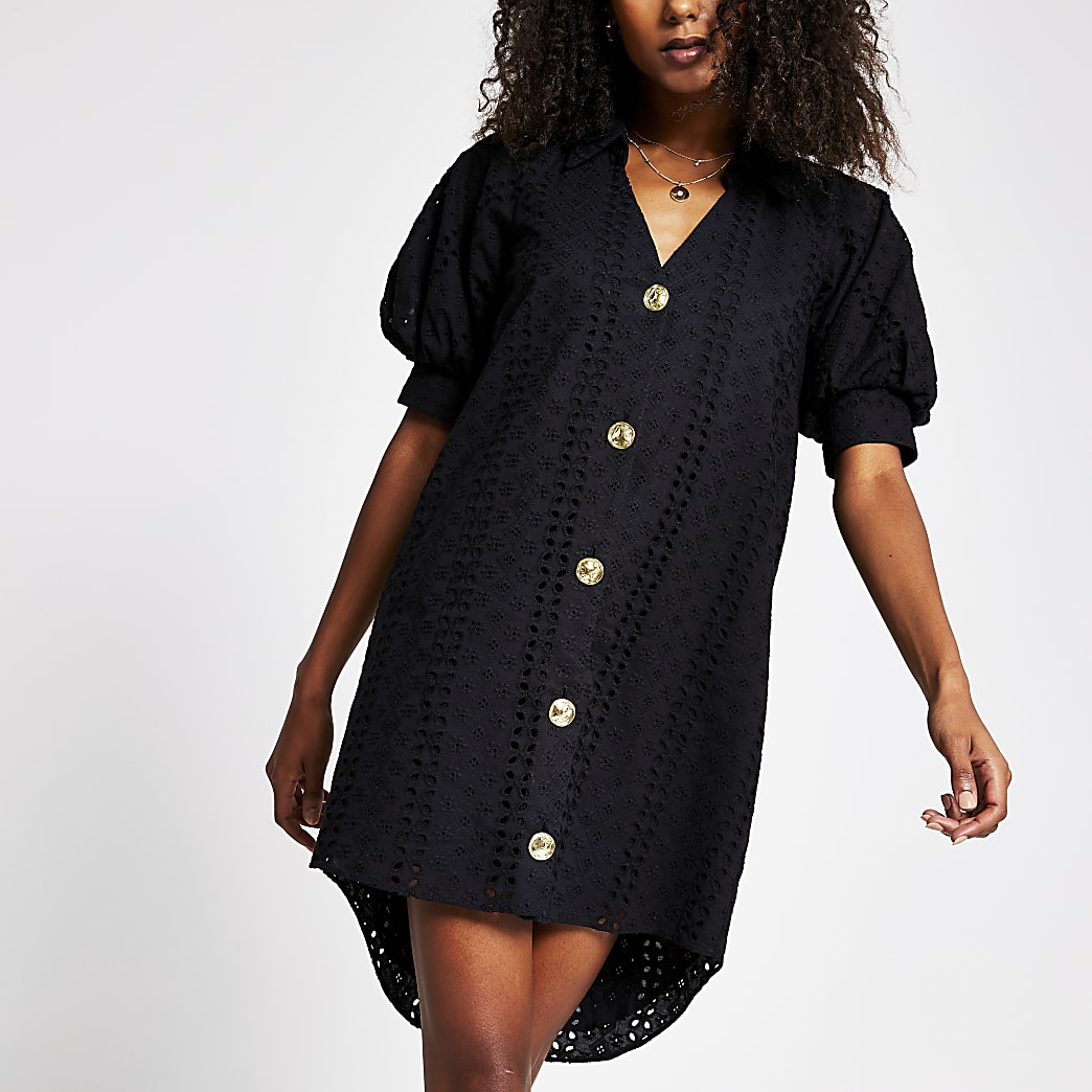 Black broderie shirt mini dress