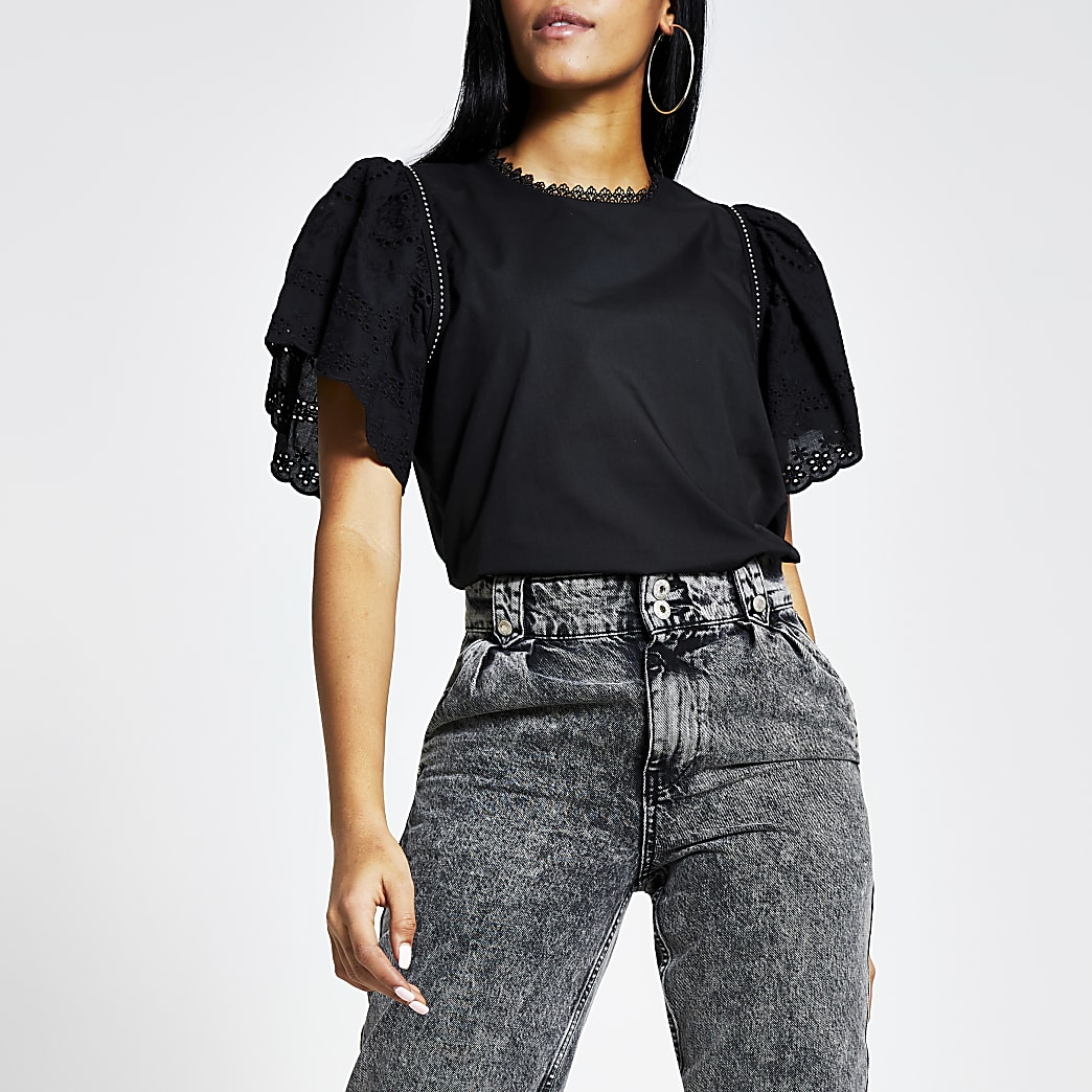 Black broderie short puff sleeve top