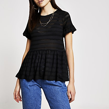 Black broderie short sleeve smock top