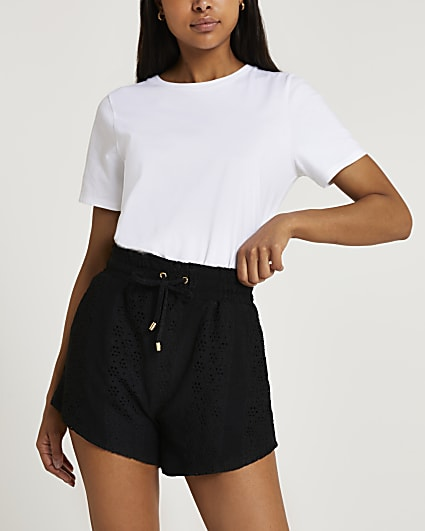 Black broderie shorts